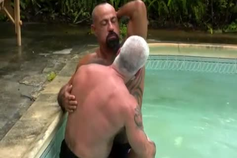 mature dudes In Tats pounding By The Pool