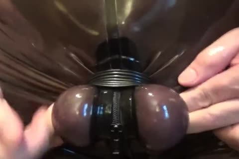 SPLIT AND HARD STRETCH OF MY EGGS. RUBBERED AND tied.