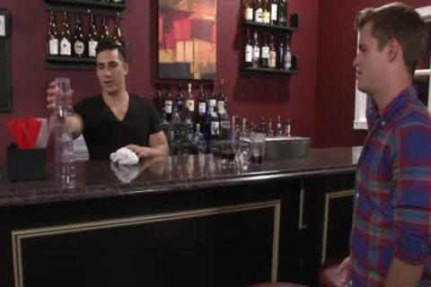 Hefty homosexual men plowing In A Bar