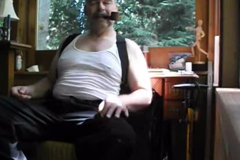 Enjoying A Pipe, Stripping Down To My underclothing And undressed Feet. PG-rated.