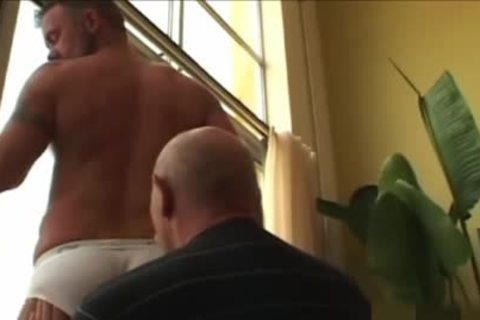 old man discharges his sperm In The cock rubber whilst plowing A Daddy