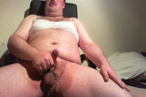 chunky lad stroking In Bra And Pants