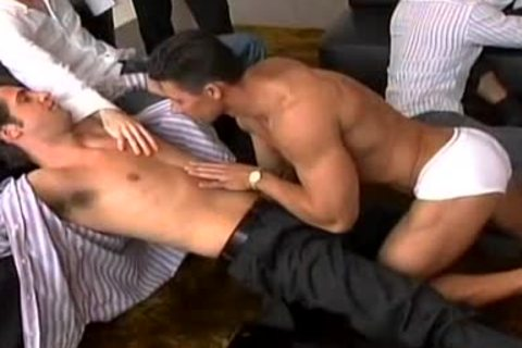 A Striptease That Leads To A large homosexual orgy!