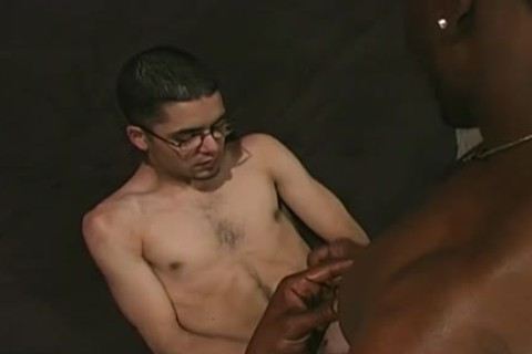 White guy Gargling Off Charcoal dongs At Gloryhole