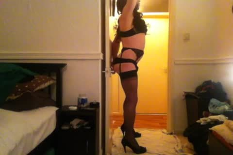 Seamed stockings, dildo And large cum.