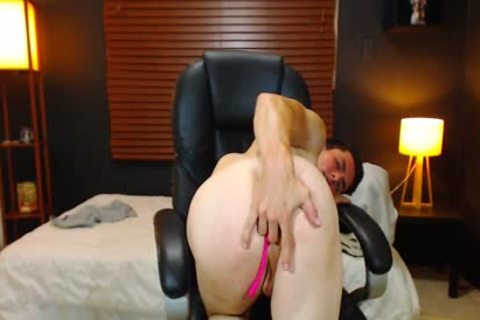 Duke J - Flirt4Free -  large Dicked stud Jerks Off With A Vibrating OhMiBod Lodged unfathomable In His butthole