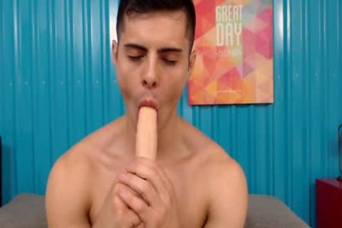 horny muscular Latino slips Two dildos In His anal
