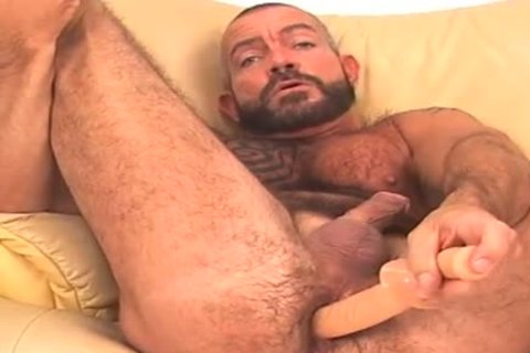 monstrous and curly, bearded BEAR works anal w/ toy